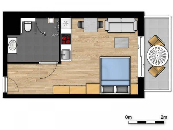 Appartement Nieuwpoort - 2 personen - West-Vlaanderen - plattegrond