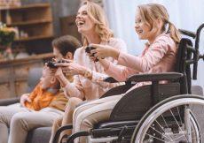 rolstoel vakantiehuis op bungalowpark met gezin